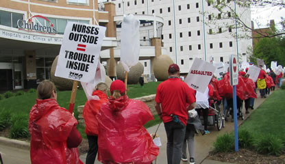 Nurses walk informational picket lines for safety, benefits