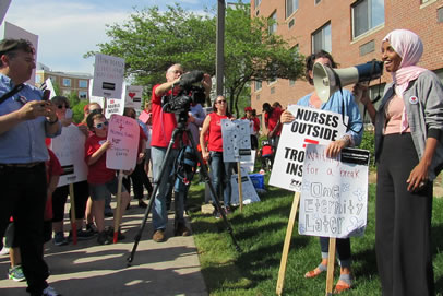 Ilhan Omar spoke in support of nurses at MNA picket line.