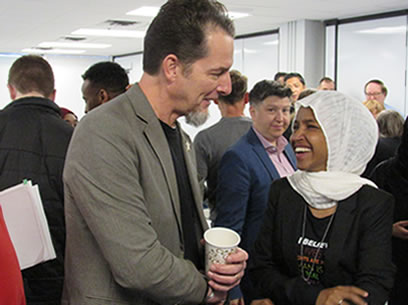 Ilhan Omar (right) at breakfast hosted MRLF