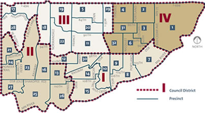 Map of Bloomington City Council Districts
